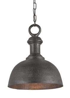 Currey and Company 9405 Timpano 1 Light Pendant with Dome Shade Antique Charcoal Indoor Lighting Pendants