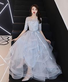 Elegant Grey Evening Dresses, A-Line / Princess Scoop Neck Prom Dress,Bow Lace Flower Sleeves Backless Prom Dresses,Cascading Ruffles Floor-Length / Long Formal Dresses Grey Evening Dresses, Gold Prom Dresses, Backless Prom Dresses, Prom Dresses For Sale, Homecoming Dresses, Bridesmaid Dresses, Formal Dresses, Formal Prom, Wedding Dresses