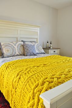 Chunky Cable Knit Throw Blanket inYello Cabled Wool Hand Knitted Blanket--made to order