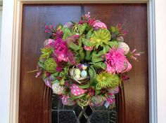 Bright Colored Burlap and Mesh Spring/Summer Wreath by HertasWreaths on Etsy