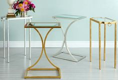 Love this trend for Spring 2014 - mixing brass, gold and other metal tables like these. The other 6 trends are here.. http://decoratedlife.com/7-exciting-trends-brass-chandelier-floral-prints-vintage-twists/
