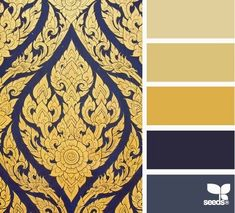 Design Seeds: Ornate Gilt This color palette works with the Midnight Mystery Collection. The dark background of the wallpaper brings out the mysterious and the punch of gold brings the elegance. Colour Pallette, Color Palate, Colour Schemes, Color Combos, Color Patterns, Blue Palette, Design Seeds, Design Despace, Logo Design