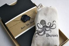 Pirate Birthday Party Invitation - Box Mailer, Black Skull & Cross Bone Wax Seal, Personalized Muslin Goodie Bag, Multi-Layered Invitation. $98.00, via Etsy.