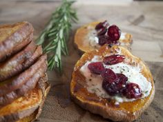 Sweet potato bites with rosemary goat cheese + cranberries