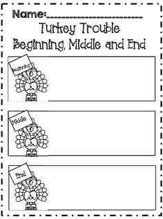 turkey trouble writing activity for middle school