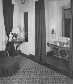 I want an alcove with a tub like this. with windows behind and a cotton drape all the way around. simpler on the bath tub, white ceramic