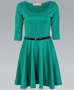 Buy Length Sleeve Belted Jade Green Skater Dress by Krisp BASICS from our Womens range - Green, Medium, Large - @ Krisp Clothing Mini Skater Dress, Jade Green, Dresses For Work, Belt, My Style, Sleeves, How To Wear, Shopping, Collection