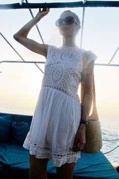 White, crocheted summer dress. Easy, relaxed, and effortless summer style!