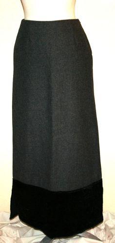 Sisley Charcoal Gray Wool Blend Maxi Skirt w/Crushed Black Velvet Border