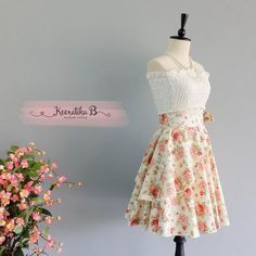 Summer's Whisper Floral Skirt Spring Summer Sweet Pale Yellow Floral Skirt Party Cocktail Skirt Wedding Bridesmaid Skirt Cream Floral Skirts