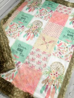 93a02748ef5e Dream Big Minky Blanket - Designer Minky - Faux Patchwork - Fawn Fur