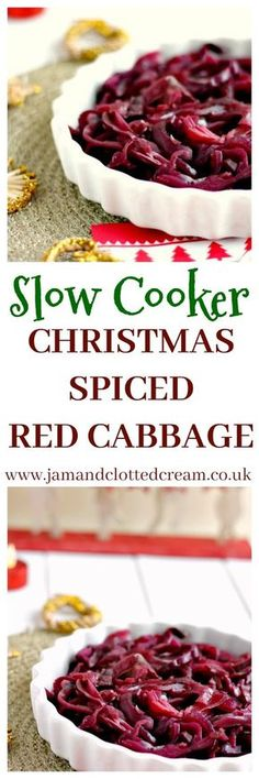 A slow cooker Christmas spiced red cabbage recipe with mustard seeds and allspice.