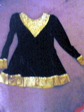 Handmade Dark Green Velvet Dance Costurme Dress with Gold Sequin Design