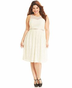 American Rag Plus Size Dress, Sleeveless Lace Illusion A-Line