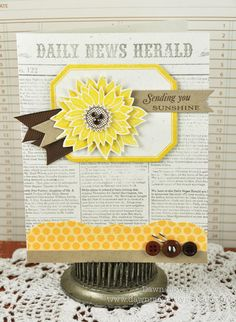 Sending You card PTI Simple Sunflower - I like the sentiment on a ribbon, lovely colors