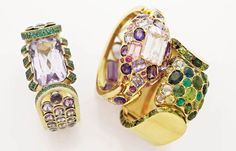 Bracelet (left) of amethysts and emeralds, c. 1937, by René Boivin, and two by Suzanne Belperron of amethysts, tourmalines and kunzite (center) and tourmalines, emeralds and peridot (Christie's Images) - See more at: http://thejewelryloupe.com/boivin-and-belperron-bold-gem-laden-geometry/#sthash.tNDg5V2P.dpuf
