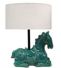 The Cheval Table Lamp adds colour and a touch of the unique