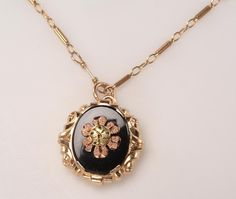 Vintage Tri Color 14kt Gold, Onyx Pendant:  Black Hills Gold Design, all ages, all occasions