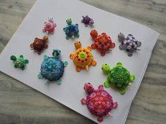 colorful paper quilled turtles