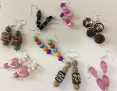 Colorful glass and ceramic earrings
