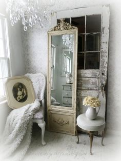Full Length Mirror French Romantic Home Decor Shabby Chic Leaning Mirror on Etsy, $120.00