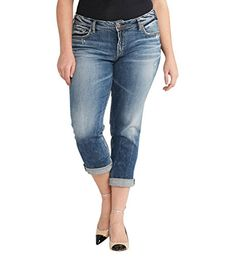 7ec5d52807b Amazon.com  Silver Jeans Women s Plus Size Sam Boyfriend-Fit Mid-Rise Slim  Jean  Clothing