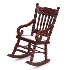 Brown #wooden rocking chair 1:12 doll house #miniature fairy #garden furniture,  View more on the LINK: 	http://www.zeppy.io/product/gb/2/351597858175/