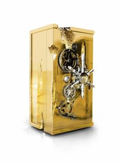 MILLIONAIRE gold luxury safe box luxury, limited edition by Boca do Lobo with Modern and vanguardist style. Handmade piece with luxury finishes. Pantone, Stainless Steel Polish, Polished Brass, Luxury Furniture, Furniture Ideas, Decoration, Contemporary Design, Perfume Bottles, Jewelry Making