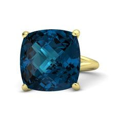 Checkerboard Cushion Pavilion London Blue Topaz 14K Yellow Gold Ring - Pure Cushion Ring | Gemvara