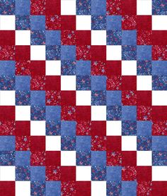 We are using a simple easy to sew quilt block pattern and these beautiful patriotic fabrics. Stars on red, stars on blue, marbled red, marbled blue and white. Make a nice blanket, throw, lap or home d