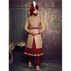 Buy Beige Maroon Silk Layered Anarkali Sherwani online in India at best price. eight 2 Kg Dispatch Date 10th Jan, 2017 Occasion Wedding Work Beads, Cutdana, Diamond, Resham Patter