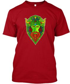Viking Warrior Shield Deep Red T-Shirt Front