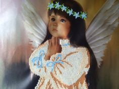 Beaded painting Praying Angel. Home decor. Kids room wall dedor. Embroidery art. Hand embroidery design. Ill be your guardian angel, your sweet company here....  Hand embroidery. Czech beads. Size 25.5cm x 31.5cm (10 x 12.5) The picture is embroidered on atlas. It will be a great decoration of kids bedroom or a gift for someone you care about.  You can find my other works here:  https://www.facebook.com/FairyBeadsStore https://twitter.com/NataliaLynxy https:&#x2...
