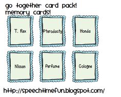 Speech Time Fun: Go Together Card Pack for Older Students!
