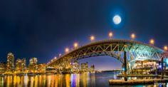 Full Moon at Granville Bridge, Vancouver,