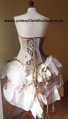 Steampunk Victorian corset bustle unique by LyndseyBoutique