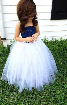 Navy Blue and White Flower Girl Tutu Dress by krystalhylton