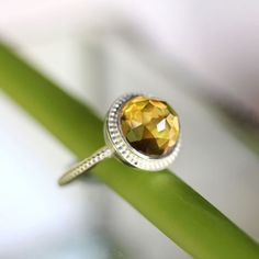 Idée et inspiration bague:   Image   Description   Rose Cut Citrine Sterling Silver Ring, Gemstone Ring, Granulated Ring In No Nickel / Nickel Free – Made To Order