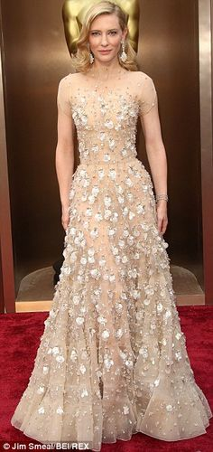Dressed to impress: Cate Blanchett in Armani at this year's Oscars...