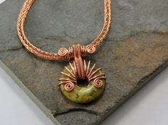 Alkebulan  Copper Viking knit chain with Yellow Turquoise