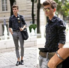 "Teddy Smith Shirt, Cheap Monday Gray Skinny, Prada Mirror Sunnies, Antonio Ben Chimol Bracelet, Derby Shoes, Loft Design By ""Montmartre"" Canvas Bag"