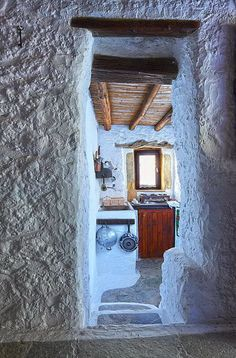 Cave House in Crete, Greece Crete Island, Greek House, Crete Greece, Mediterranean Style, Greek Islands, Traditional House, Beautiful Landscapes, Interior And Exterior, Places To Go