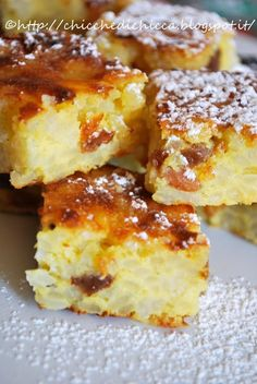 The gems of chicca: Squares of Rice Cake Italian Cake, Italian Desserts, Vegan Desserts, Just Desserts, Apple Recipes, Cake Recipes, Dessert Recipes, Gluten Free Baking, Vegan Baking