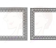 9 Rectangle Borders Frames Lace Graphic Bridal Decorations Black Vintage Heritage Patterns Design Clipart Clip Art Instant Download 10045