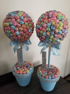 2 First Communion, Baptism, Christening - Dum Dums Topiaries, Lollipop Tree, Candy Station decoratio - geschenke idee - diy and crafts Lollipop Bouquet, Lollipop Tree, Candy Bouquet, Lollipop Decorations, Candy Centerpieces, Cupcake Decoration, Lollipop Centerpiece, Centerpieces For Baptism, Quince Decorations