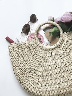 0c59a6310 Woven straw handbag/Round handle tote large/Beach bag/Straw bag for women