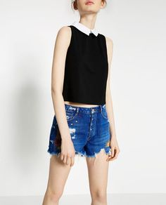 Image 2 of POPLIN COLLAR T-SHIRT from Zara
