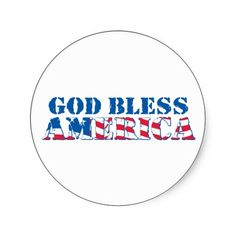 God Bless America (flag) Round Stickers