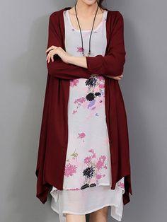 Elegant Women Flower Print Two Piece Irregular Cotton Linen Dress at Banggood