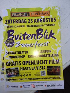 Flyer van het Buitenblik Zomerfeest op zaterdag 25 augustus 2012.  via @Ilona_Derksen.